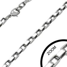 Stainless Steel Venetian-Box Link Chain Necklace - 4.1mm X 60mm - Hypoallergenic