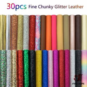 30pcs Chunky Glitter PU Faux Leatherette Sewing Fabric DIY Bow Earring Making A5