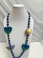 Women's Jewelry Florida Club Sunfest Mardi Gras Blue Long Bead Necklace