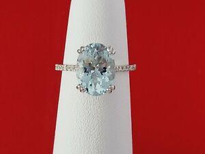 Solid 14K White Gold DIAMOND AND AQUAMARINE Ring 3.25 Carats