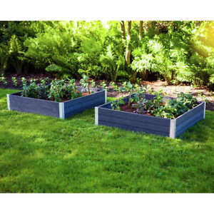 NEW Vita Urbana 48 Inch by 48 Inch Polymer Outdoor Planter 2-Pack Slate Gray