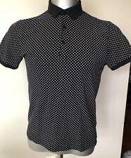 H&M Black Polka Dot Short Sleeve Men Summer Shirt Size Medium
