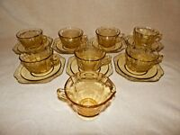 Vintage Federal Amber Madrid - Coffee Tea Cups, Saucers, Creamer - Lot of 7 Sets