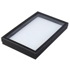 Black Display Box 100 Slot Earring Ring Case Clear Top Organizer White Holder BF