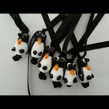 Cute Handmade Lampwork Penguin  Tree/Parcel Decoration on Black Ribbon