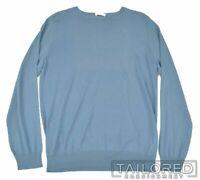 BOGLIOLI Solid Blue 100% Cotton Woven Crewneck Mens Sweater - LARGE
