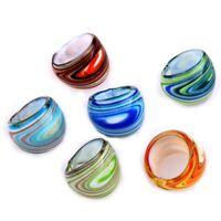 6X Bagues Anneaux en Murano Verre Lampwork Multicolore V5D2