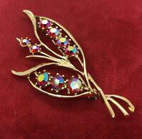 Vintage Fashion Costume Brooch Pin Aurora Rhinestone Red Gold Tone Leaf Flower