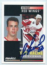 Yves Racine signed 1991-92 Pinnacle card Detroit Red Wings autograph #233
