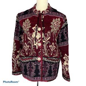 Vtg Flashback Jacket Oversized Tapestry Button Maroon S Wearable Art Floral