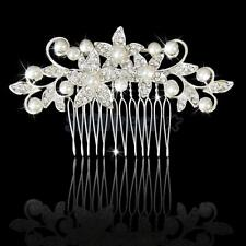 Bridal Wedding Jewelry Crystal Diamante Flower Pearls Slide Hair Comb Clip