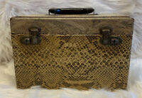 Vintage? Train Case Vanity Cosmetic Make Up  Animal Print Wooden Luggage Carrier