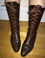 Vtg cole haan brown lace up boot vintage leather brazil Us wmn 7.5 / Uk 38 mod