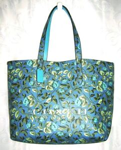Coach Faux Leather Highline Blue Green Floral Open Tote Beach Summer Bag