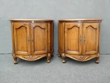 PAIR Vintage WHITE FURNITURE CO French Country Carved NIGHTSTANDS End Tables
