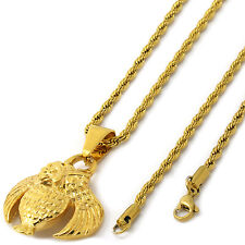 "Men 14k Gold Tone Stainless Steel O.V.O Owl Pendant 3mm 24"" Rope Necklace Chain"