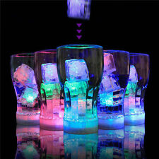12Pcs LED Ice Cubes Color Changing Decor Flash Lights Submersible Liquid Sensor