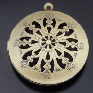 Lot of (x4) Bronze Iron Floral Locket Magnetic Prayer Box Pendant Findings DIY