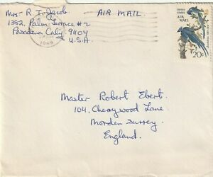 1969 USA cover sent from Pasadena CA to Morden,Surrey UK