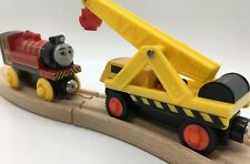 Thomas Wooden Railway Victor & Kevin 2003 Vintage Steamworks Crane Red Train Set