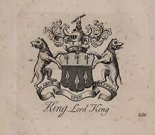 1779 ANTIQUE PRINT ~ KING ~ Family Crest Armoiries