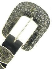 "Black Hematite Stone Inlay Ranger Set Sterling Silver Buckle for 1"" Belt"