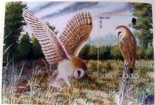 2001 JERSEY OWL STAMPS SOUVENIR SHEET BARN OWL BIRD STAMPS