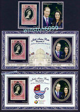 2012 2013 Malaysia Diamond Jubilee Prince William Kate 2v MS Overprint Thailand