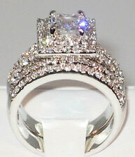 3 Ct. PRINCESS CUT Cubic Zirconia Platinum Engagement Wedding Ring Set - SIZE 7
