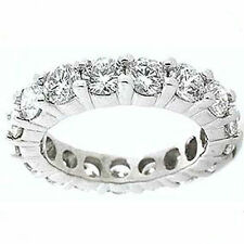 2.30 ct Round Diamond Ring 14k Gold Eternity Band H Si1 Size 7 0.10 ct each