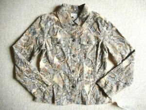 NWT Womens Jacket-ANALOGY-beige/blue/brown patterned cotton stretch button ls-S
