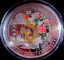 80mm nich 70mm Gigant Medaille China Drache Farbdruck versilbert Medaillen Münze