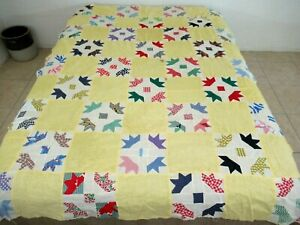Vintage Feed Sack, Polka Dot, Gingham Cotton Hand Pieced TURKEY TRACKS Quilt TOP