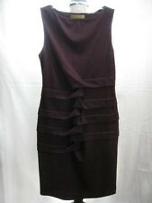 NWT $290 NICOLE MILLER PLEATED SEXY SLIMMING PONTE KNIT DRESS L AUBERGINE PURPLE