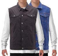 Men's Denim Button Up Casual Stretch Cotton Classic Biker Jean Jacket Vest