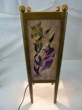 UNIQUE HANDMADE HAND PAINTED DANCING LADIES BORDEAUX TABLE LAMP SIGNED BY ARTIST