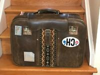 Vintage luggage, brown leather luggage, boho suitcase