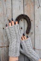 Fingerless Gloves Knit Womens Alpaca Winter Knitted Woolen Mohair Hand Warmers