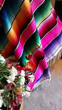 Mexican Serape blanket Pink,Multi color Vibrat colors falsa classic EXTRA LARGE