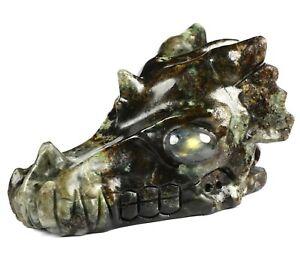 """5.2"""" KOREA GARNET Carved Crystal Dragon Skull & Labradorite Eyes"""