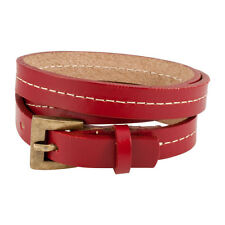 Red Triple Wrap Belt Buckle Stitched Leather Bracelet Fashion Cool Strap Punk