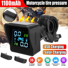 Motorcycle Solar TPMS with Compass LCD Tire Pressure Monitor System w/ 2