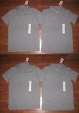 LOT of 4 NWT M 8/10T CAT&JACK Boys Girls Gray Polo T Shirts SOLID SCHOOL UNIFORM