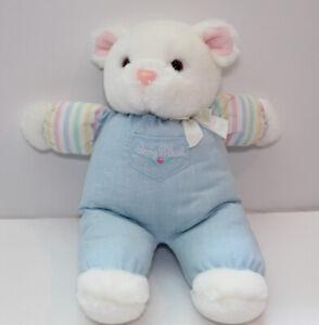 Vintage Baby Bgosh Plush White Pink Blue Bear Lovey Toy Stuffed Stripped Bow