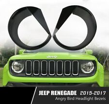 Black Front Light Bezel Angry Bird Style Headlight Bezels Cover Jeep Renegade