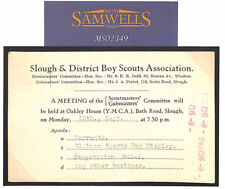 MS2349 1932 GB SCOUTING Wallis Correspondence SLOUGH SCOUTS CARD Windsor