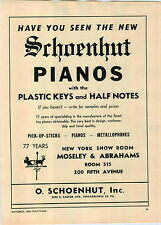 1949 PAPER AD Schoenhut Toy Play Pianos