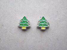 Earrings Mini  Stud Green Christmas Tree/Baubles/Novelty/Floating charm/novelty