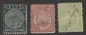 Fiji   Sc.used #53,55,56  'Crown & CR'   'Fijian Canoe' Script cancel 1892-93-96