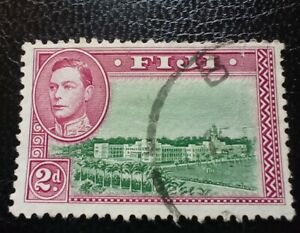 Fiji George VI 1942 2d Red & Green Used SG 255 (A17)